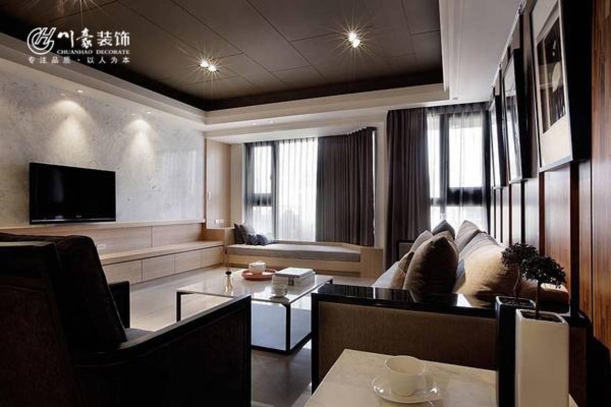 190㎡大户型简约风格客厅电视背景墙装修效果图-简约风格射灯图片