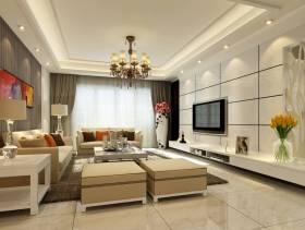 140㎡三居室现代风格客厅电视背景墙装修效果图-现代风格茶几图片