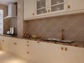 欧式风格厨房瓷砖背景墙装修效果图-欧式风格橱柜图片