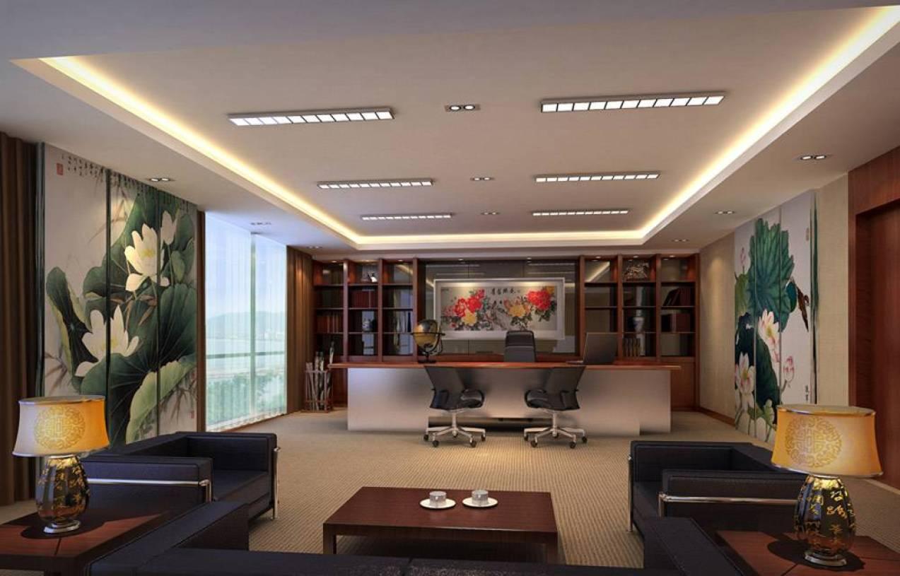 现代简约风格办公室背景墙装修效果图-现代简约风格办公沙发图片