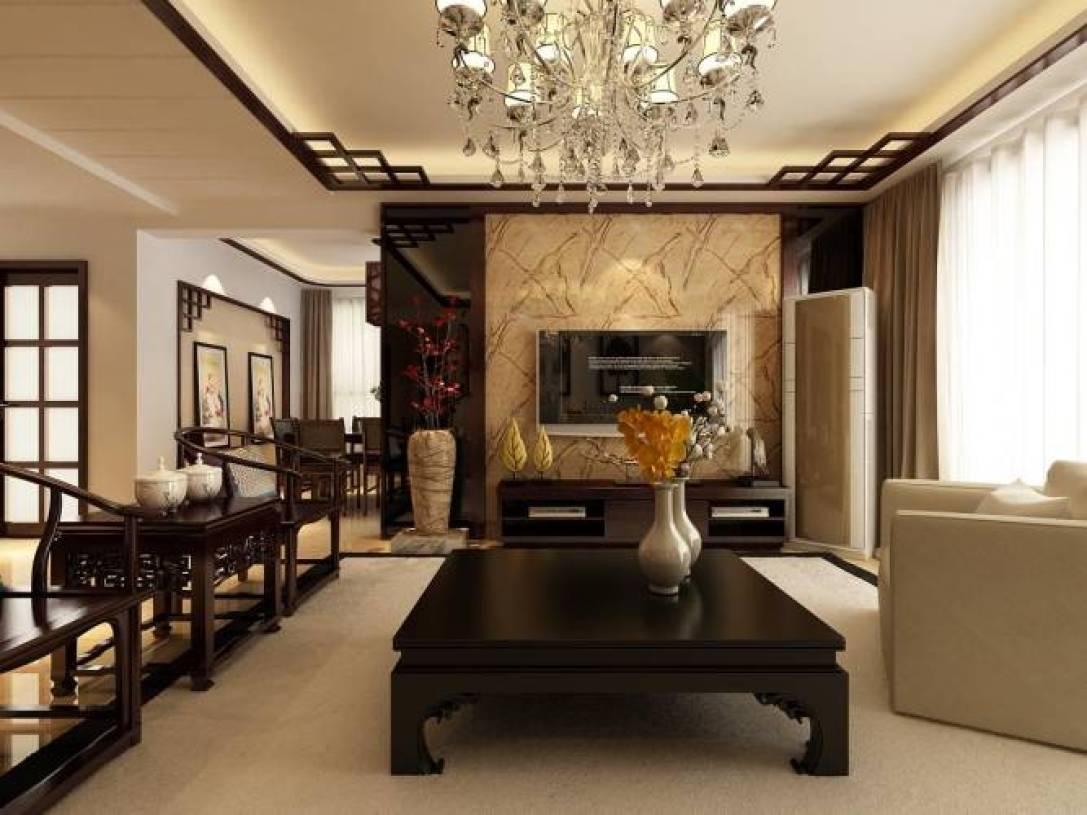 新中式风格客厅电视背景墙装修图片,新中式风格茶几图片图片