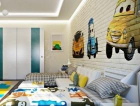 简约风格儿童卧室背景墙装修效果图-简约风格儿童家具图片