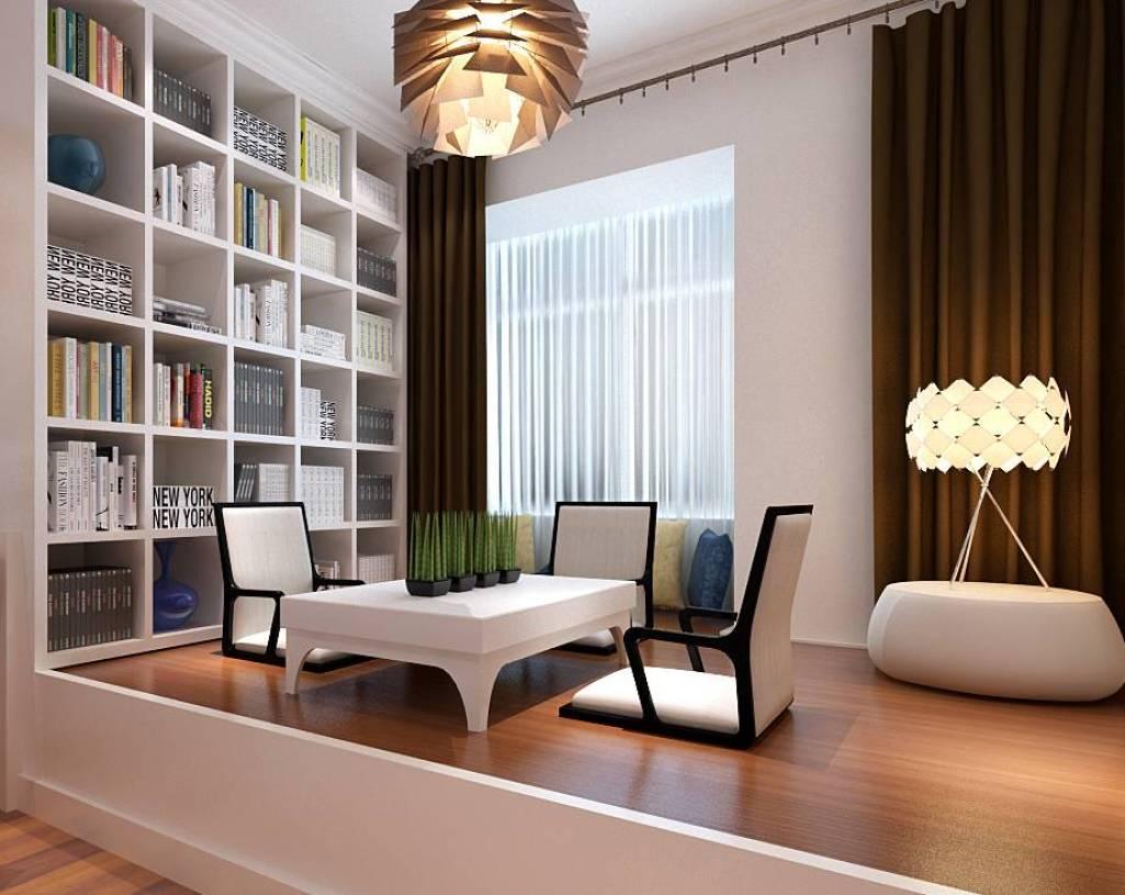 52㎡二居室简约风格阳台榻榻米地台装修效果图-简约风格书架图片