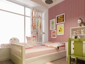 简约风格女生卧室背景墙装修效果图-简约风格床图片