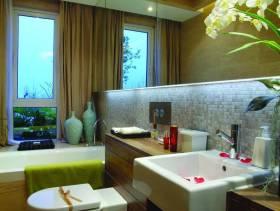 330m²别墅现代风格浴室装修图片-现代风格面盆图片