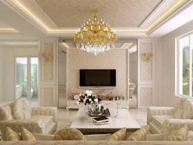 124㎡两室两厅欧式风格客厅电视背景墙装修效果图-欧式风格单人沙发图片