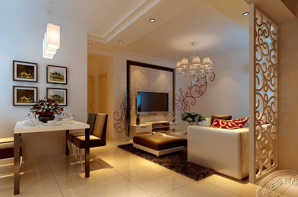 83平方现代简约风格客厅吊顶装修效果图,现代简约风格