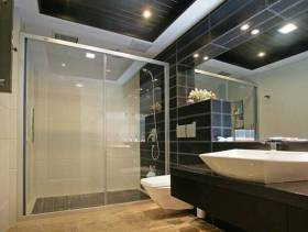 现代简约风格卫生间玻璃隔断装修效果图-现代简约风格卫浴柜图片