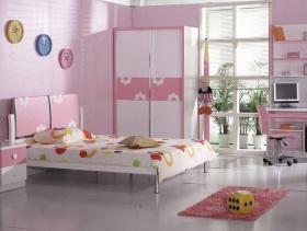 现代风格小平米儿童卧室壁纸装修效果图-现代风格儿童家具图片