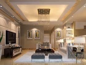 108㎡三居室现代风格客厅背景墙装修效果图-现代风格边几图片