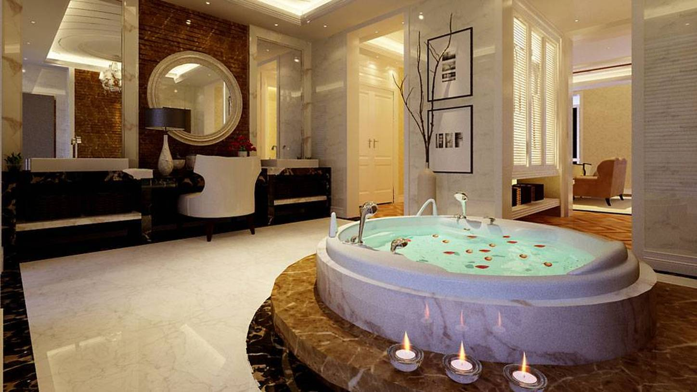 350㎡别墅简约欧式风格浴室墙面装饰装修效果图-简约欧式风格浴缸图片