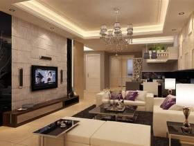 小户型客厅石材电视背景墙装修效果图