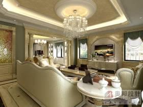 280㎡别墅欧式风格客厅吊顶装修效果图-欧式风格吊灯图片