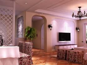 田园风格样板房客厅电视背景墙装修效果图-田园风格电视柜图片