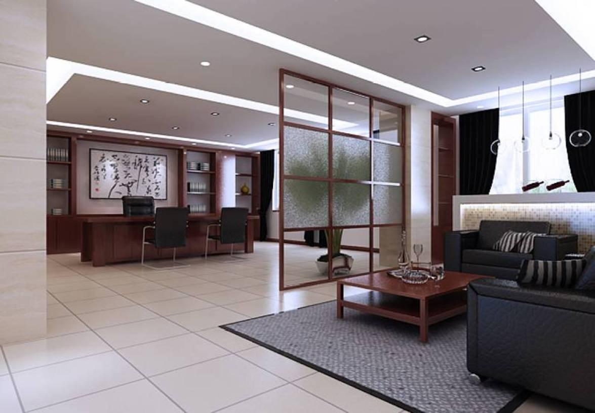 简约风格办公室背景墙装修效果图-简约风格办公沙发图片