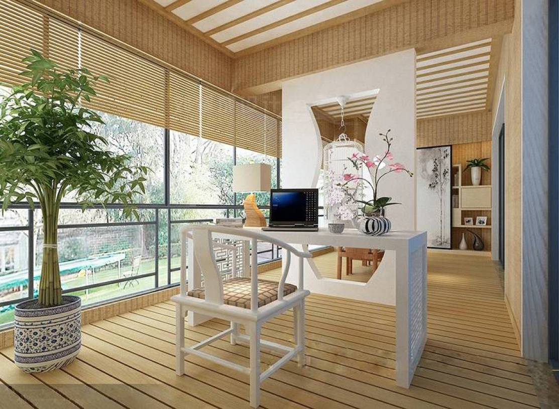 610㎡别墅新中式风格阳台隔断装修效果图-新中式风格书桌图片