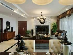 美式风格三居室客厅电视墙装修效果图,美式风格吊顶图片