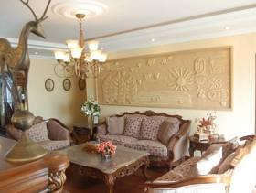 欧式古典风格客厅沙发背景墙装修图片