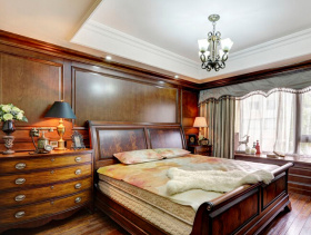 美式风格卧室床头背景墙装修效果图-美式风格双人床图片