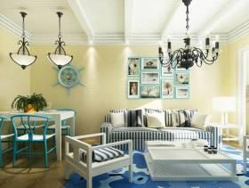 地中海风格小户型小客厅沙发背景墙装修效果图-地中海风格沙发图片