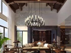 新中式风格客厅吊顶装修效果图-中式风格吊灯图片