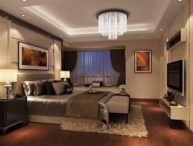 186㎡三居现代风格卧室背景墙装修效果图-现代风格水晶吸顶灯图片