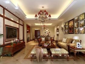 180㎡美式风格别墅客厅电视背景墙装修效果图-美式风格电视柜图片