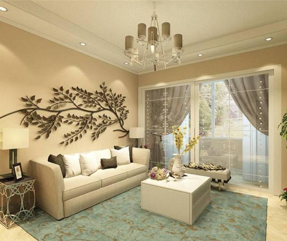 三居室客厅沙发墙面装饰装修效果图