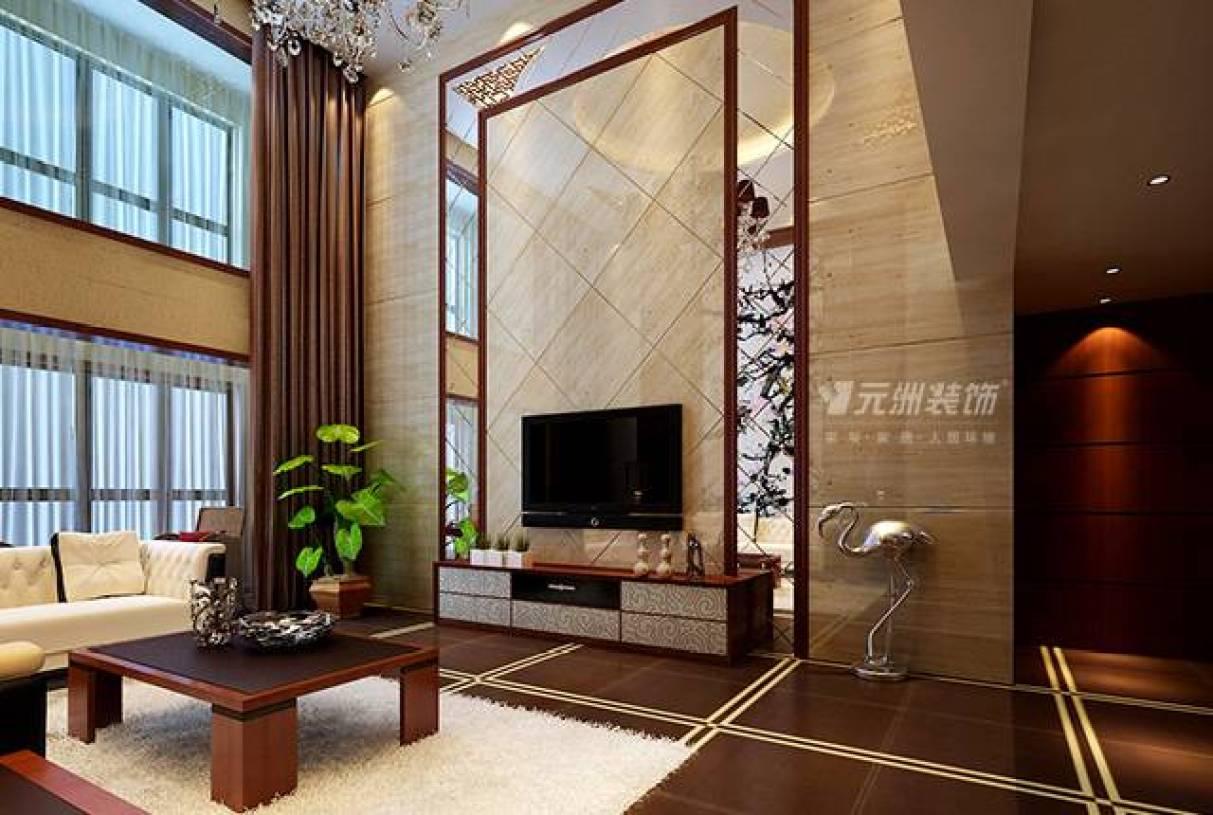 210㎡复式楼中式风格客厅电视背景墙装修效果图-中式风格茶几图片