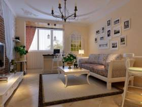 47m²一居室田园风格客厅沙发背景墙装修图片,田园风格沙发图片