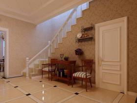 160m²复式楼简欧风格过道楼梯装修效果图-简欧风格墙上置物架图片