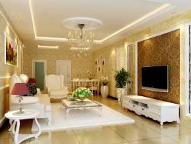 90㎡三居室欧式风格客厅电视背景墙装修效果图-欧式风格茶几图片