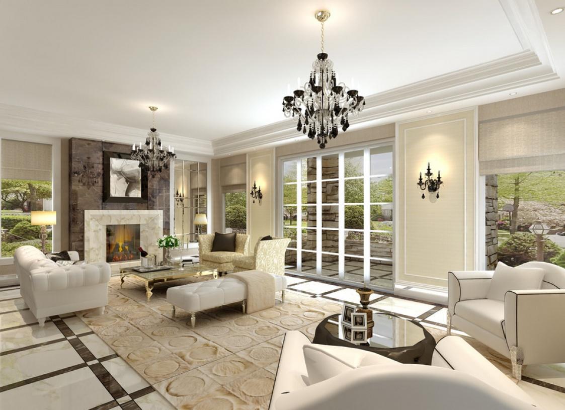 欧式风格客厅背景墙装修效果图-欧式风格壁灯图片