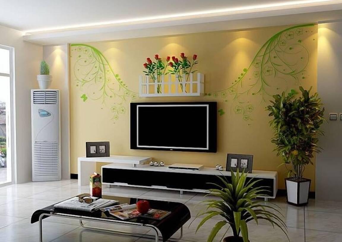 现代风格客厅石膏线背景墙装修效果图-现代风格茶几图片