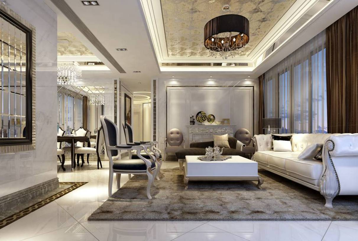 简欧风格客厅吊顶装修效果图,简欧风格皮沙发图片图片
