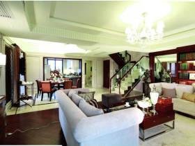 简约欧式风格复式楼客厅吊顶装修图片-简约欧式风格茶几图片