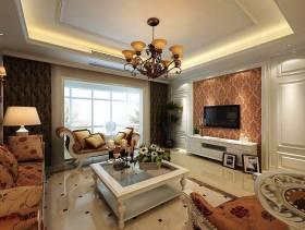 简欧风格四居室客厅电视背景墙装修效果图,简欧风格吊顶图片