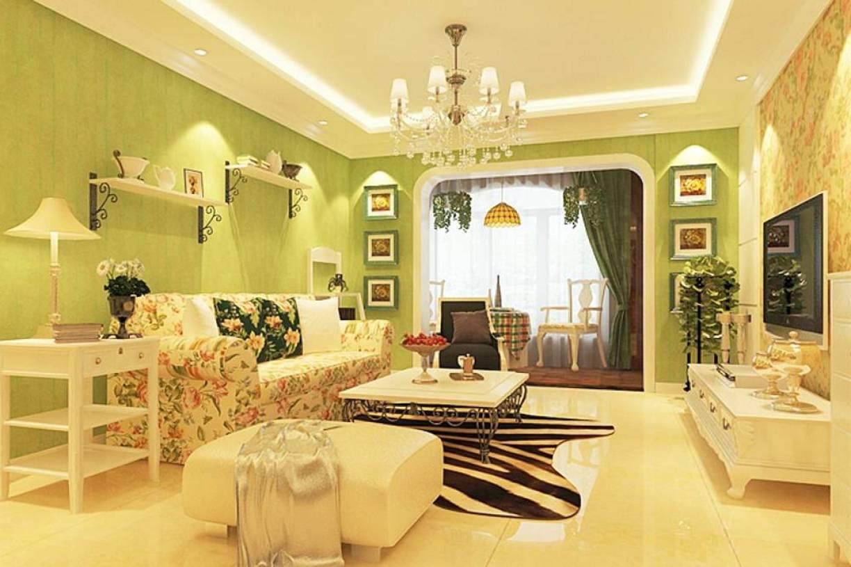 132㎡三居田园风格客厅背景墙装修效果图-田园风格边几图片