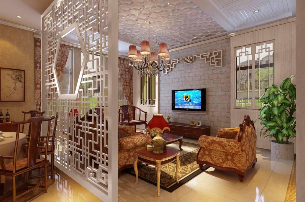户型中式新古典风格客厅屏风隔断装修效果图-中式新古典风格沙发图片