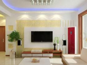 简约风格客厅电视背景墙装修效果图-简约风格实木电视柜图片
