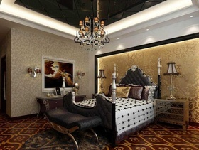 128㎡三居室欧式风格卧室吊顶装修效果图-欧式吊灯图片