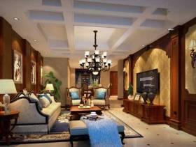 美式风格客厅电视背景墙装修效果图,美式风格吊顶图片