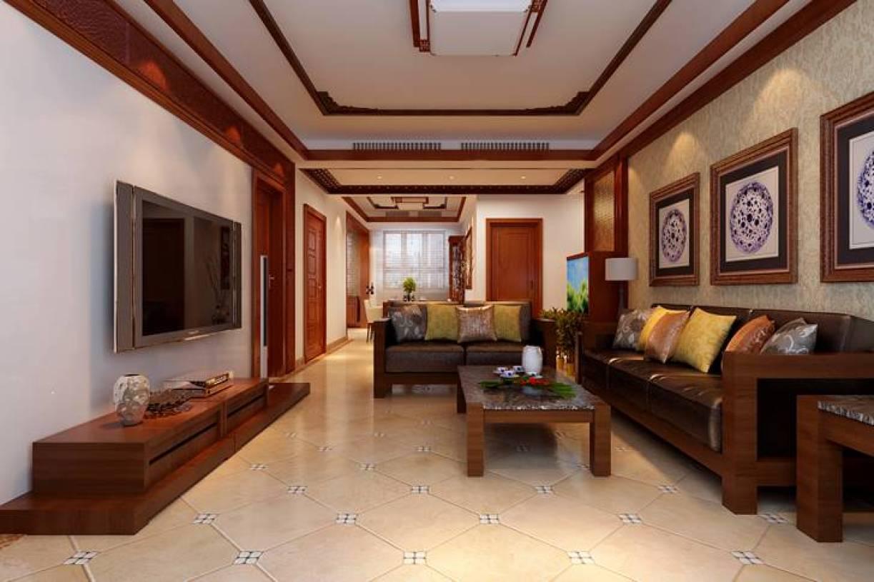 139㎡三居室新中式风格客厅背景墙装修效果图-新中式风格茶几图片