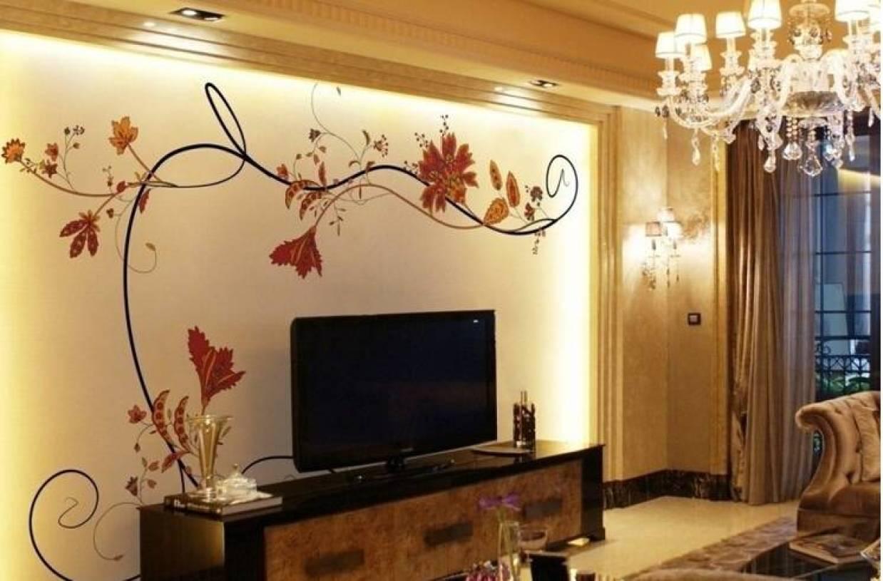 现代风格客厅手绘电视背景墙装修图片-兔狗装修效果图