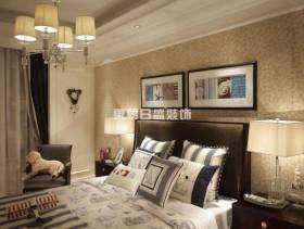 卧室浅黄色背景墙纸装修效果图