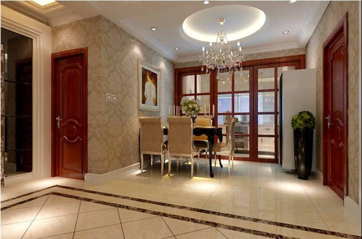158平欧式风格四居餐厅吊顶装修效果图,欧式风格松木餐桌椅图片