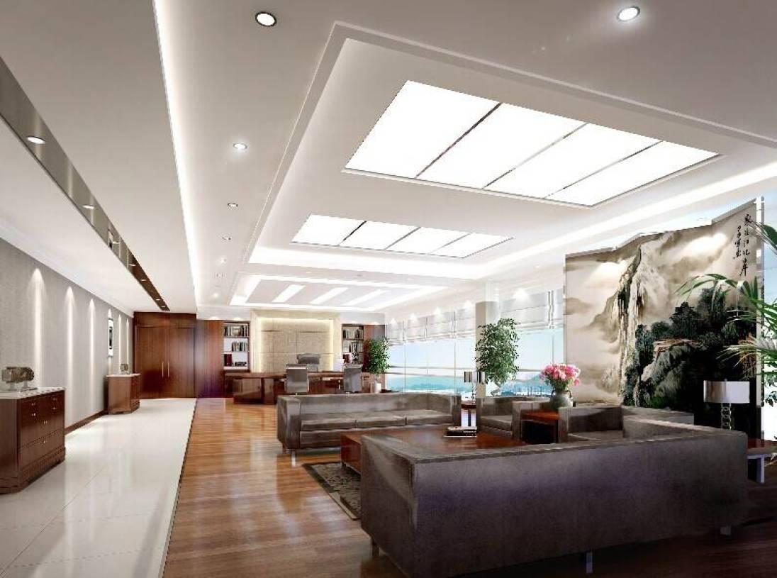 新中式风格老总办公室吊顶装修效果图