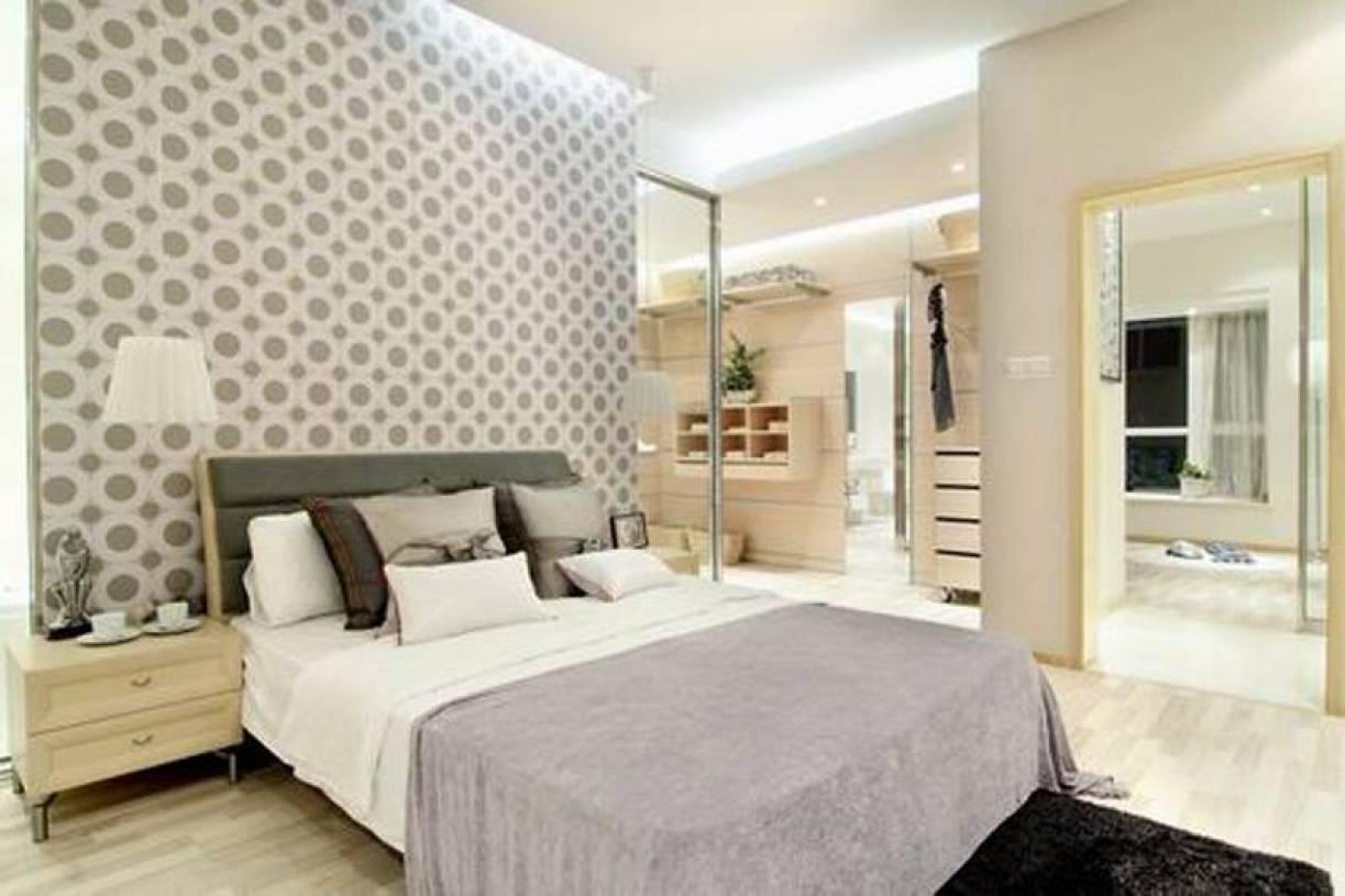 现代简约卧室床头背景墙纸装修效果图