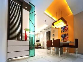 现代风格餐厅隔断装修效果图-现代风格吊灯图片