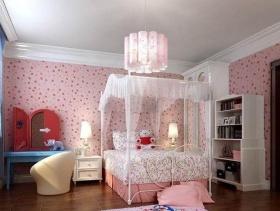 韩式风格小平米儿童卧室壁纸装修效果图-韩式风格儿童书柜图片